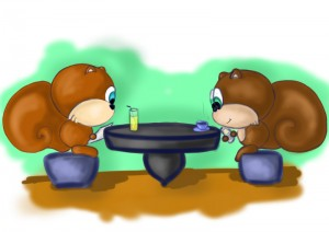 Two Squirrles discussing Internet Marketing while enjoying a cup of coffee