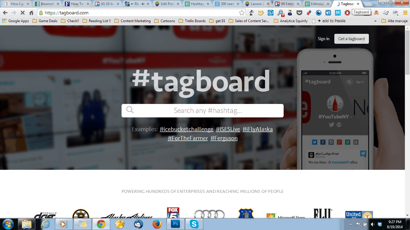 hashtag research with tagboard